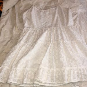 White Lace Back Smock Dress